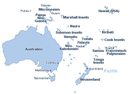 Australien & Pazifik Landkarte