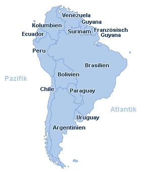 Südamerika Landkarte
