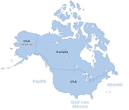 Nordamerika Landkarte