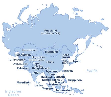 Asien Landkarte