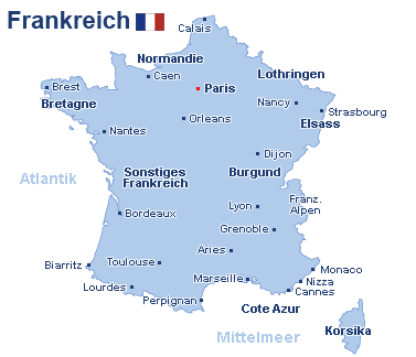 Frankreich Landkarte